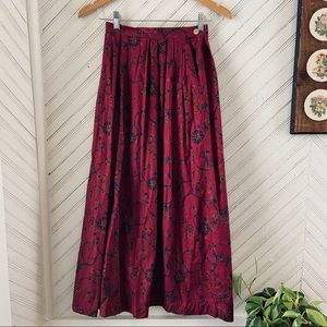 Vintage Pleated Midi Skirt with Pockets